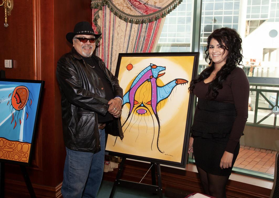 David mit seiner Tochter Chelsea bei einer seiner Ausstellungen in Halifax